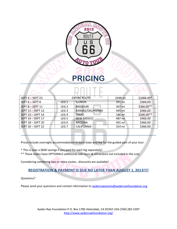 ROUTE 66 PRICING